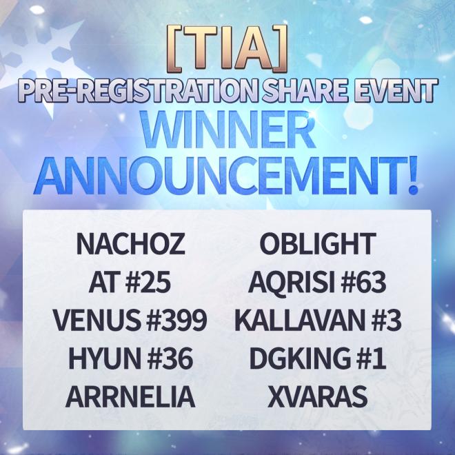 GrandChase - GLOBAL DE: Mitteilungen - ★ Announcing [Tia] Pre-Registration Sharing Event Winners ★  image 3