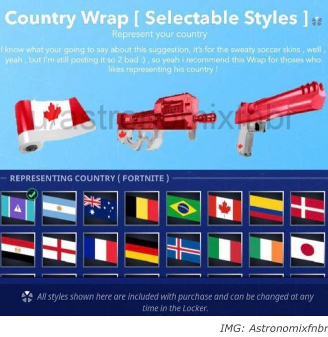 Fortnite: Battle Royale - Nationality Gun Wrap Concept 🇺🇸🇨🇦🇮🇸 image 4