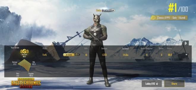 PUBG: PUBG Mobile - Idk why but the #16 seems to be my lucky number when it comes to @PUBGMOBILE 😂 5-0 W/L 58-0 K/D  image 2