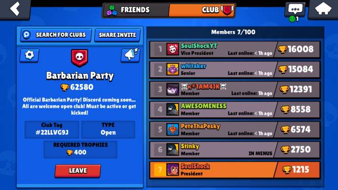 Brawl Stars: Club Recruiting - New club recruiting new active players... Barbarian Party image 4