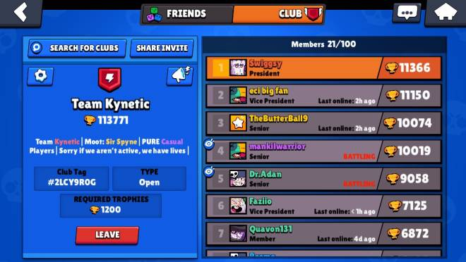 Brawl Stars: Club Recruiting - Going for 200k, anyone with over 10k gets instant Senoir 😍 image 2