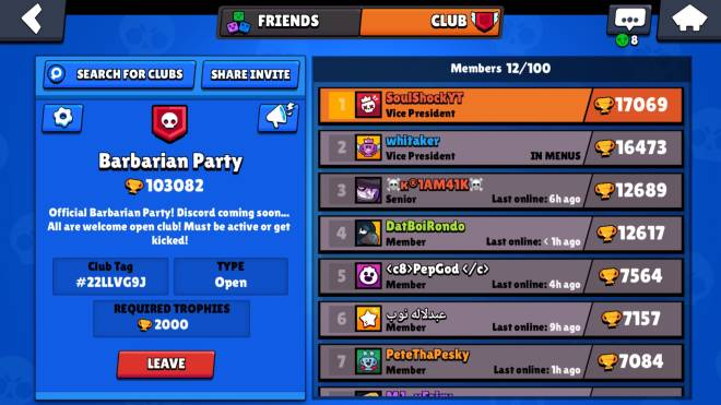 Brawl Stars: General - Join Barbarian Party Just hit 100,000 Trophies!! image 2