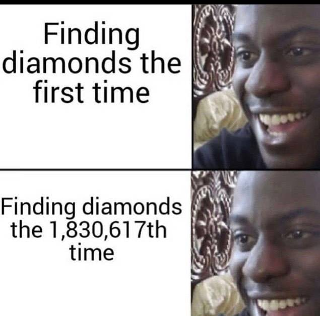 Minecraft: Memes - Finding diamonds is always exciting  image 1
