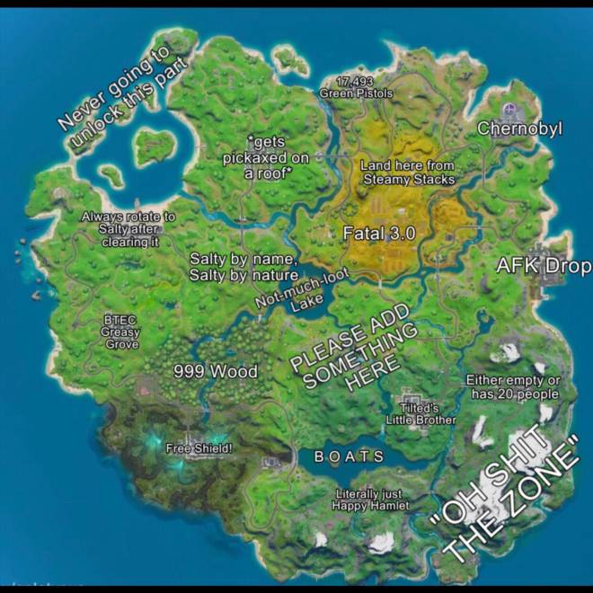 Fortnite: Memes - An accurate Chapter 2 season 1 map image 1