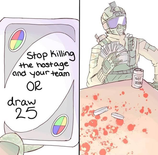 Rainbow Six: Memes - Fuze Playing Uno image 1