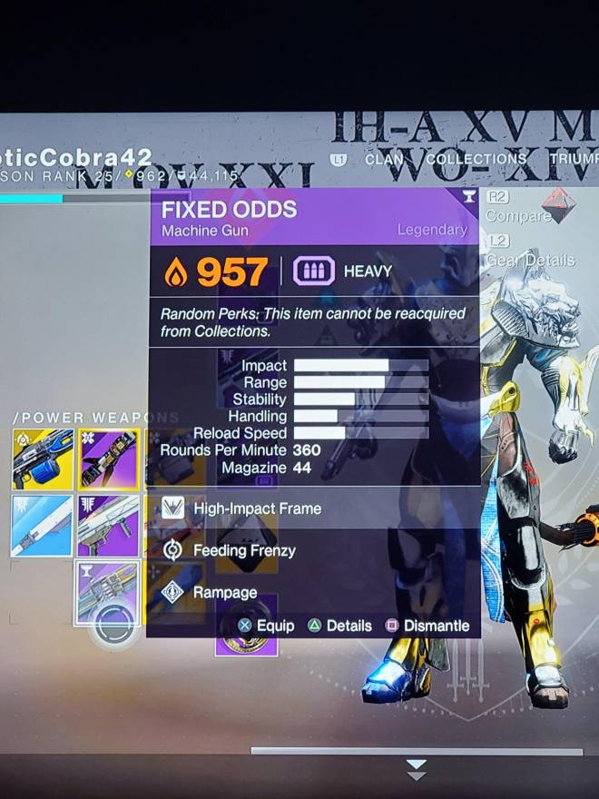 Destiny: General - Anybody know a good rolls to look for on FIXED ODDS? image 2