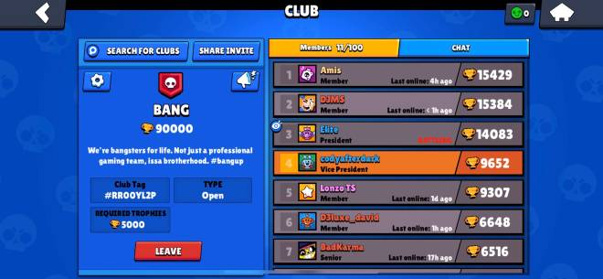 Brawl Stars: Club Recruiting - Looking for people to join BANG clan. Grinding trophies, always active image 1