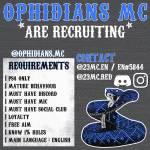 Reccuritng for Ophidians MC. Prospect or support depends on your experience.
