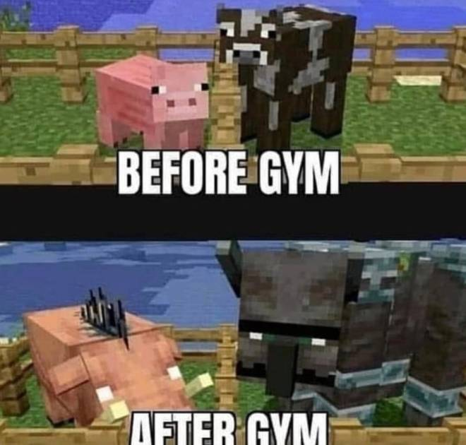 Minecraft: Memes - Piggy and cow after working out image 1