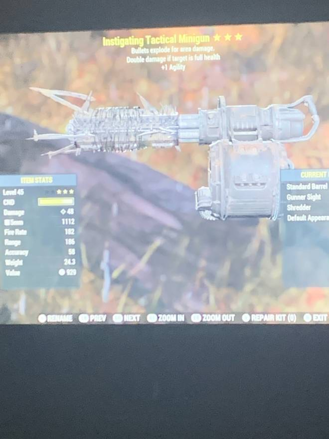 Fallout: Looking For Teammates - 3 star instigating tactical mini gun for sale. Send offers. image 3