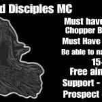 Haunted Disciples MC Are Recruiting HMU ON IG @HDMC_Piero