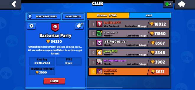 Brawl Stars: Club Recruiting - New club Barbarian Party! Recruiting new active members to play with regularly. image 1