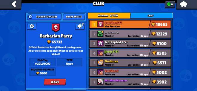 Brawl Stars: General - Join Barbarian Party! New club recruiting new members to play with! image 1