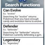 Pokemon GO Search Functions