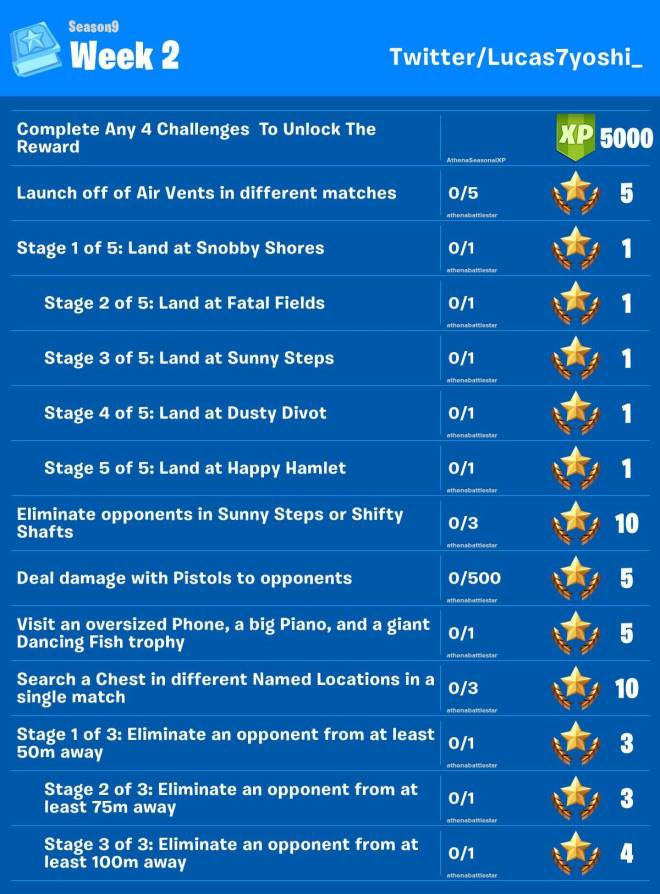 Fortnite: Battle Royale - Season 9 Week 2 Challenges Leaked image 2