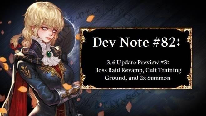 HEIR OF LIGHT: Dev Notes - Dev Note #82: 3.6 Update Preview #3: Boss Raid Revamp, Cult Training Ground, and 2x Summon image 1