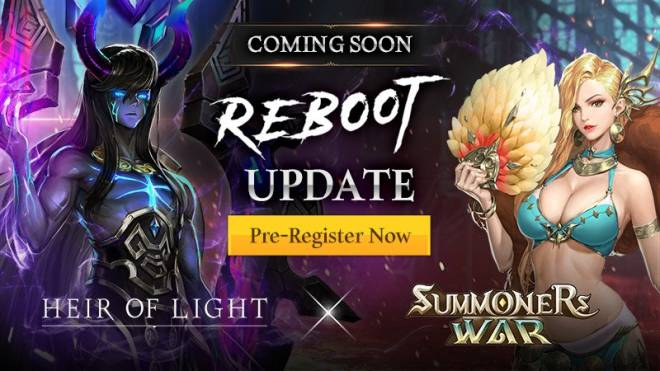 HEIR OF LIGHT: Announcement - [Notice] 4.0 Reboot Update: Heir of Light x Summoners War Collaboration Pre-Registration image 1
