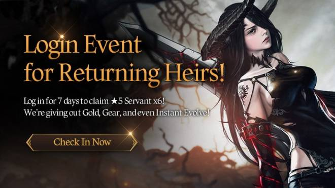 HEIR OF LIGHT: Event - [Event] Login Event for Returning Heirs! (2/26 ~ 3/23 CST) image 1