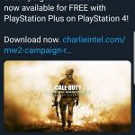 CoD MW2 remastered is free for playstation plus players
