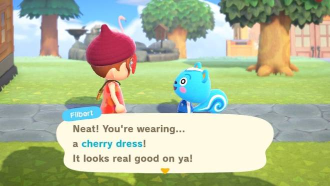 Animal Crossing: Posts - Filbert & My New Villager Astrid commenting on my Cherry Dress from Caveman 😊 🍒  image 2