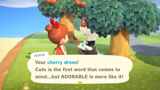 Animal Crossing: Posts - Filbert & My New Villager Astrid commenting on my Cherry Dress from Caveman 😊 🍒  image 3