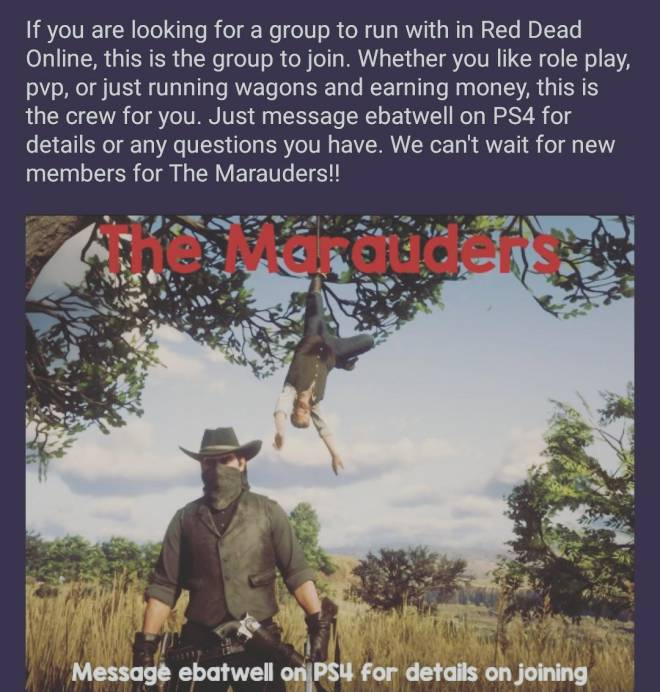 Red Dead Redemption: General - Red Dead Online Crew Recruitment  image 2