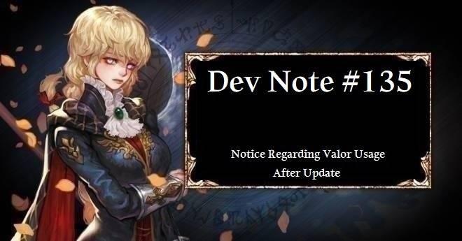 HEIR OF LIGHT: Dev Notes - Dev Note #135: Notice Regarding Valor Usage After Update image 1