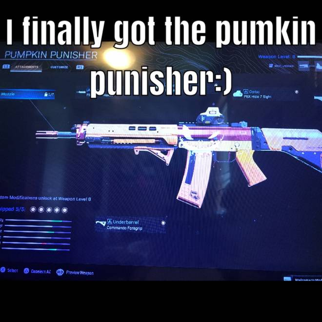 Rainbow Six: General - Finally after about 7 hours of trying to get the pumpkin punisher I got it... image 1