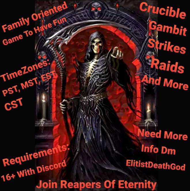 Destiny: General - Ps4 You Looking to join a clan? Crucible, gambit, raids? Join Reapers Of Eternity  image 3
