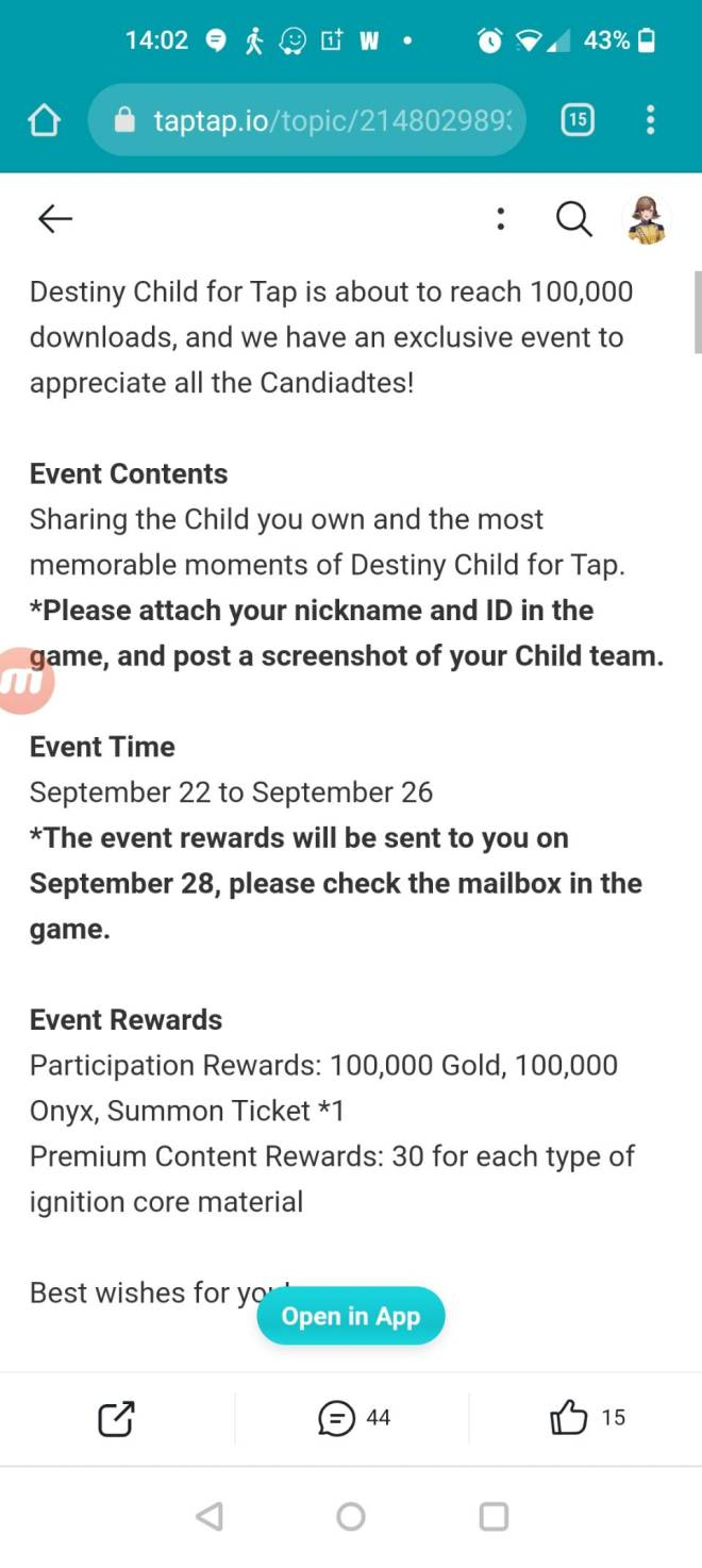 DESTINY CHILD: FORUM - Freebies for tap tap 100000 downloaded image 4